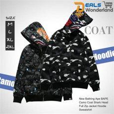 bape shark full zip hoodie ebay a bathing ape bape camouflage coat shark zip jacket hoodie sweatshirt ebay