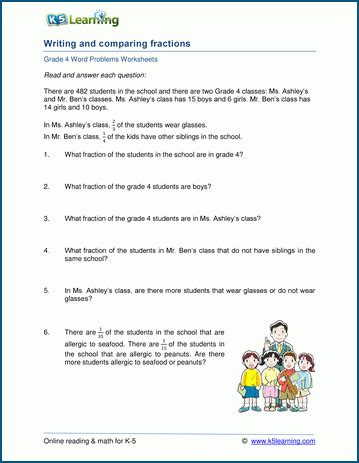 grade 4 writing comparing fractions word problem worksheets
