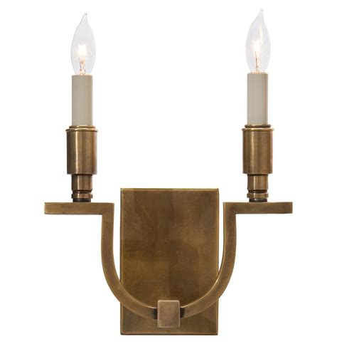 shirley hollywood regency antique brass double wall sconce