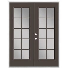 french door glass inserts home depot masonite 60 in x 80 in willow wood steel prehung right inswing 10 lite clear glass patio