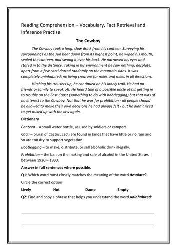 year 6 reading comprehension work sheet teaching resources