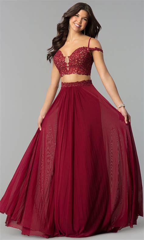piece long shoulder prom dress promgirl