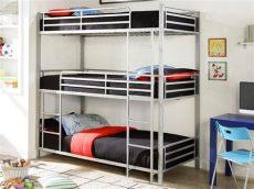 literas de 3 camas de fierro cama litera 3 personas de acero lacado color gris elouan