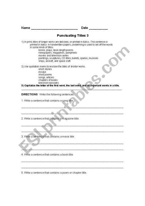 english worksheets punctuating titles