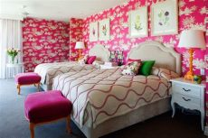 harlequin childrens bedroom wallpaper children s bedroom featuring pink harlequin wallpaper and custom bedding and bedheads with
