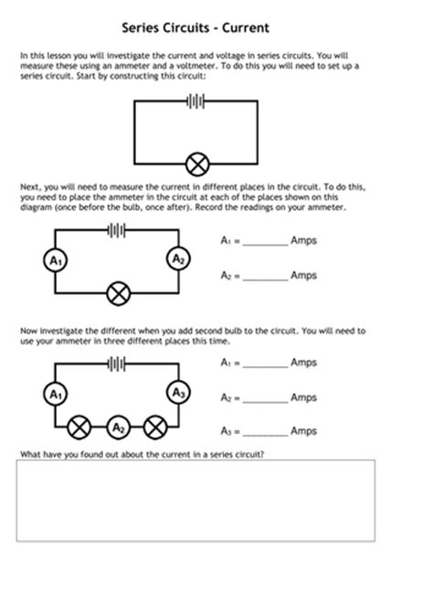current voltage series parallel circuits tafkam teaching resources
