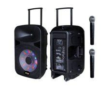 bocina karaoke myo con microfono portatil con bateria 120w negras myo 15spbat - Bocina Con Microfono Infantil