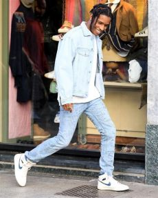 asap rocky wears guess jacket gucci and air sneakers in italy upscalehype - Guess Asap Rocky Denim Jacket