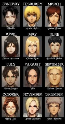 attack on titan characters names list your birth month is your shingeki no kyojin character who did you get http saikoplus
