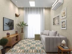sala de apartamento pequeno tapete e cortina leroy merlin - Salas Modernas Pequenas Para Apartamentos Pequenos