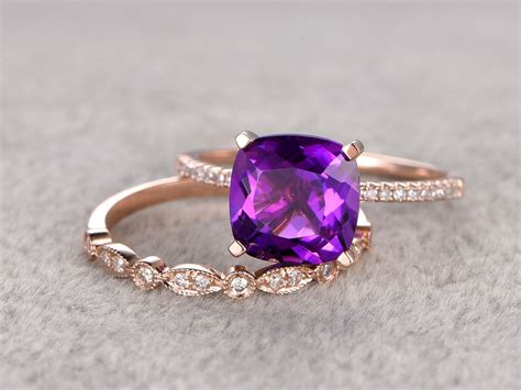 8x8mm cushion amethyst wedding set diamond bridal ring