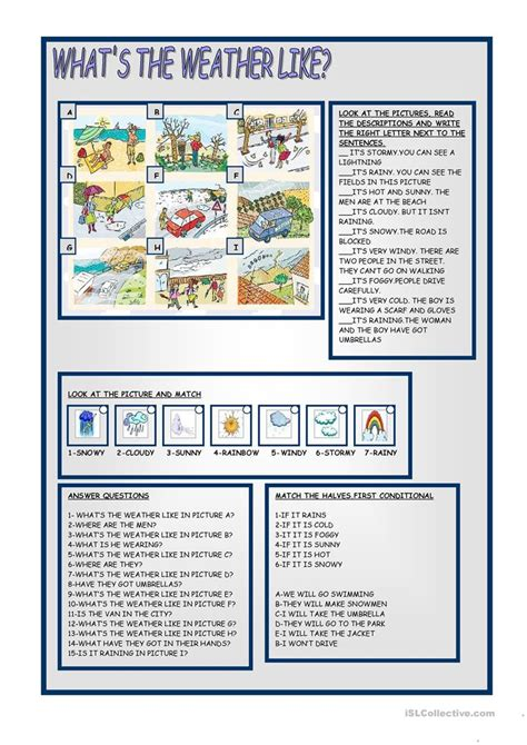 weather english esl worksheets distance learning physical classrooms