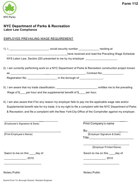form 112 download printable fill online employee prevailing