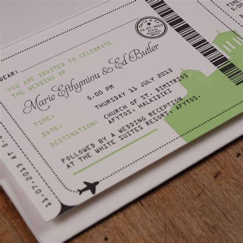 greece boarding pass wedding invitations goldfinch design goldfinchdesign