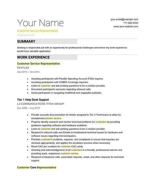 Resume Outline For Customer Service.html