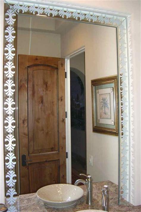 fancy palm border decorative mirror etched carved design