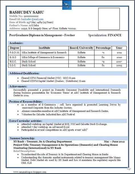 sle beautiful resume format mba fresher resume formats