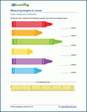 grade 1 measurement worksheets measuring lengths ruler k5