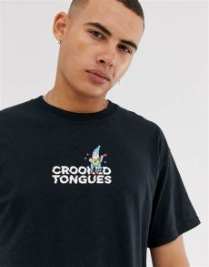 crooked tongues brand crooked tongues oversized logo t shirt in black with gnome asos