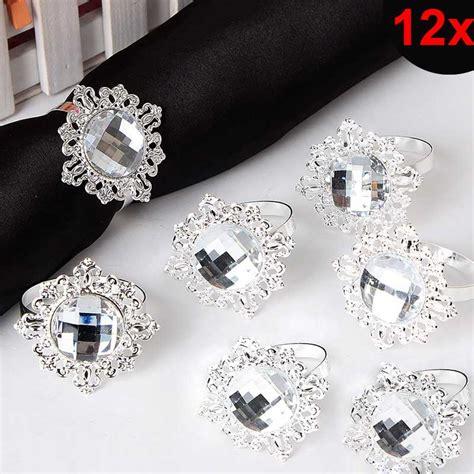 12pcs bling acrylic napkin rings napkins holder wedding