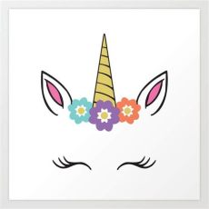 unicorn with lashes unicorn flowers eyelashes horn ears print by designgallery society6
