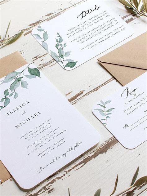 greenery wedding invitation set template eucalyptus wreath printable