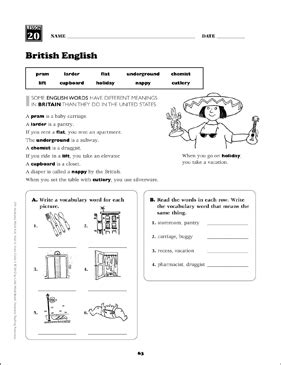 british english grade 5 vocabulary printable skills sheets