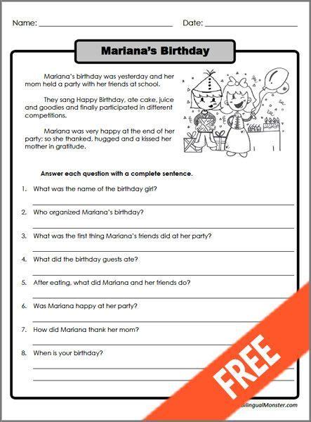 printable reading comprehension worksheets 3rd grade 2 escolares
