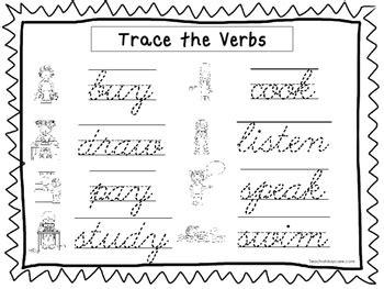 2 cursive trace verbs worksheets kdg 2nd grade