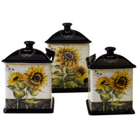 canister set french sunflowers 3 piece ceramic storage