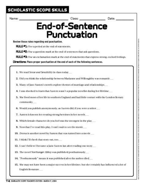 sentence punctuation worksheet 6th 9th grade lesson planet