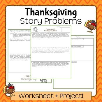 thanksgiving word problems project middle school math tpt