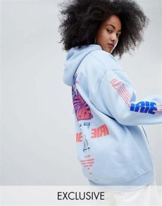 crooked tongues hoodie in white with postcard print crooked tongues oversized hoodie with irie print in blue with logo asos