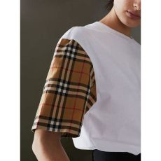vintage check sleeve cotton t shirt in white burberry - Vintage Burberry Shirt Womens