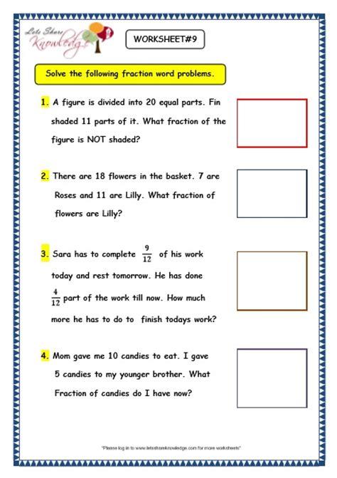 grade 3 maths worksheets 7 9 fraction word