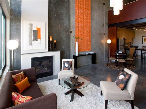 contemporary living room orange accent gray color paint