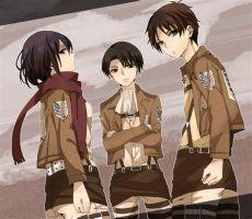 attack on titan eren and levi and mikasa attack on titan image 1491438 zerochan anime image board