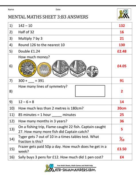 mental maths year 3 worksheets