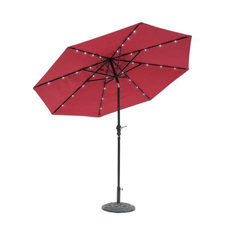 sunray 9 ft solar lighted market umbrella scarlet