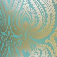 shimmer damask metallic wallpaper rich teal gold ilw980014 from henderson interiors uk - Teal Shimmer Wallpaper