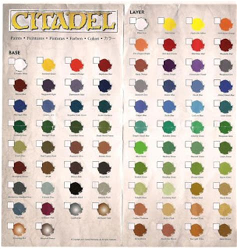 rumours citadel paint range colour chart tale painters