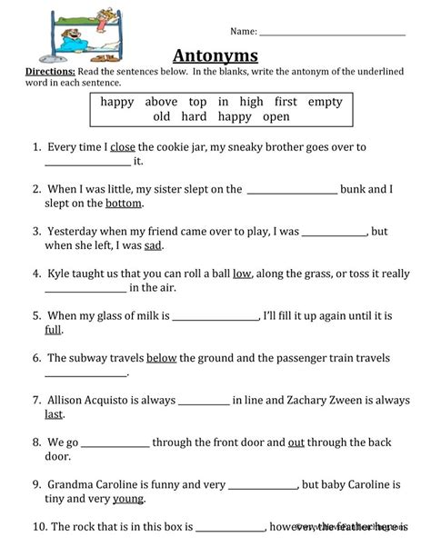 Antonyms Worksheets For Grade 3 With Answers.html