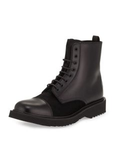 prada combat boots mens lyst prada lace up leather boot in black for