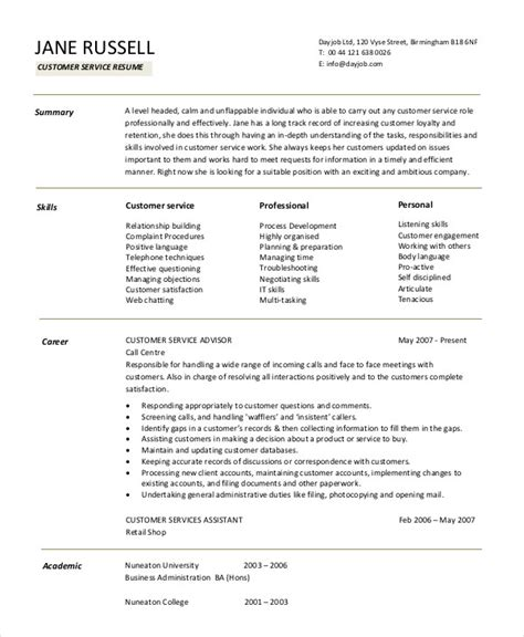 11 customer service resume templates doc free premium