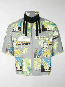 prada comic jacket prada grey cotton comic print sleeve harrington jacket stefaniamode