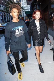 jaden smith wears adidas hu nmd sneakers msftsrep t shirt and cartier lover ring hair ties - Jaden Smith Adidas Shoes