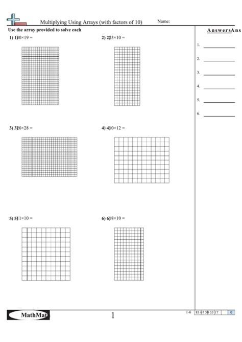 multiplying arrays factors 10 math worksheet answer key