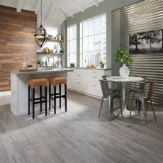 faux wood tile in kitchen grey walls and wood floors contemporary kitchen interior