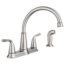 moen shoo faucet moen brecklyn 2 handle standard kitchen faucet with side sprayer in spot resist stainless