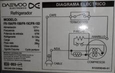 diagrama de refrigerador daewoo refrigerador daewoo fr 15a 4 000 00 en mercado libre
